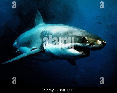 El Gran tiburón blanco es un depredador ápice y unas asombrosas criaturas submarinas en la imagen de acuarela