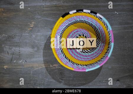 Alegría en letras de bloque