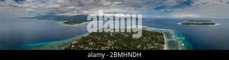 Vista aérea de las islas Gili vista desde Gili Air Indonesia