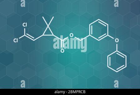 Insecticida piretroide de permetrina. Se usa para tratar la sarna y los piojos en humanos. Se utiliza para impregnar mosquiteros y en collares de pulgas para perros. Fórmula esquelética.