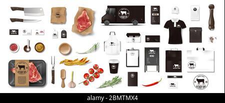Variedad de comida en la carnicería. Restaurante Marca identidad de la maqueta de la instalación aislada. Elementos de embalaje de Marca para tienda de carne, cafetería o asador