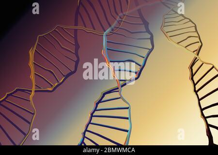 Secuenciación genómica concepto de edición genómica. Biotecnología de la molécula Foto de stock