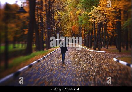 portero con una pala caminando, hojas caídas en una calle de otoño. Hojas de limpieza en la ciudad, barranador de calle con escoba, temporada de otoño