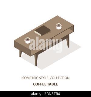 Mesa plana de mesa de café isométrica vectorial aislada sobre fondo blanco