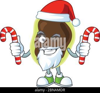 Personaje de dibujos animados de firmicutes como un Santa teniendo dulces