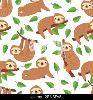 Lindo bebé oso perezoso. Dormitorio tropical vector sin costuras. Ilustración de un fondo perezoso sin fin