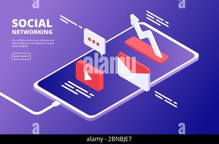 Redes sociales y teléfono. Marketing en Internet, como iconos de mensajes sobre smartphone. Concepto isométrico de vector de comunidad de nube móvil. Ilustración del contenido en línea, pantalla de vídeo y aplicación