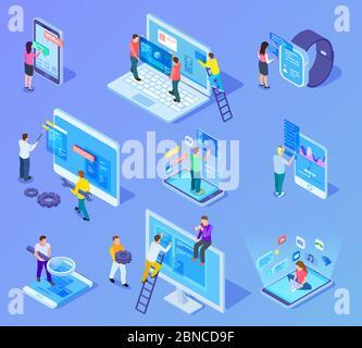 Personas y interfaces de aplicaciones concepto isométrico. Los usuarios y desarrolladores trabajan con el teléfono móvil y la interfaz de usuario del ordenador. conjunto de iconos de vectores 3d. Desarrollo de personas tecnología de construcción de aplicaciones