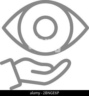Icono de ojo humano en línea de mano. Atención médica, tratamiento médico, símbolo de prevención de enfermedades Foto de stock