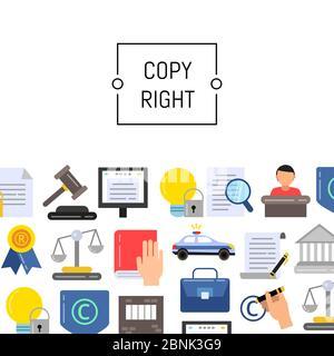 Ilustración de elementos de copyright de estilo vectorial plano