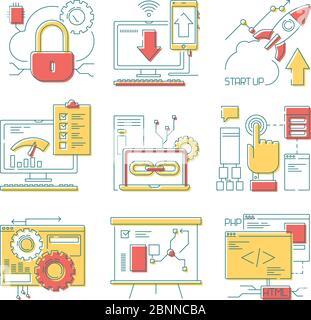 Icono de línea de sitio web. Herramientas web online móvil y desarrollo web código digital y diseño vector