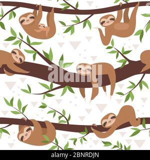 Perezoso sin costuras. Lindo pequeño sueño bebé animal textil patrón familia colgante vector concepto