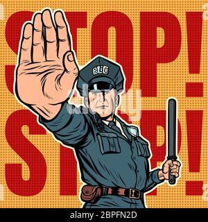 Oficial de policía detener gesto. Pop art ilustración vector vintage retro kitsch