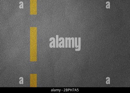 3D Ilustración de una división de carreteras con líneas amarillas patrón y fondo, texturizada reglas de tráfico concepto