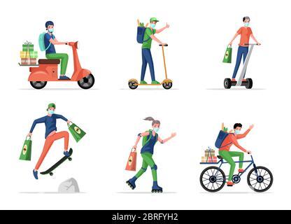 Las personas en máscaras médicas entregan alimentos y productos de supermercado por skate, scooter, patinaje y moto vector plano ilustración de dibujos animados. Entrega sin contacto durante la epidemia de coronavirus. Foto de stock