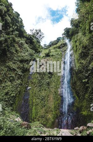 El agua cae por los verdes acantilados volcánicos de la cascada de San Ramon en la Isla de Ometepe, Nicaragua