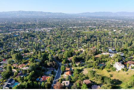 Vista aérea de Woodland Hills, los Angeles, California y San Fernando Valley