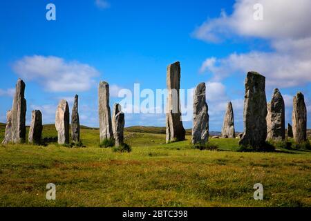 Piedras de pie Calanais, Isla de Lewis, Hébridas exteriores, Escocia.