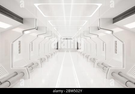 Elementos de representación 3D de esta imagen amueblado, espacio interior blanco, túnel, pasillo, pasillo