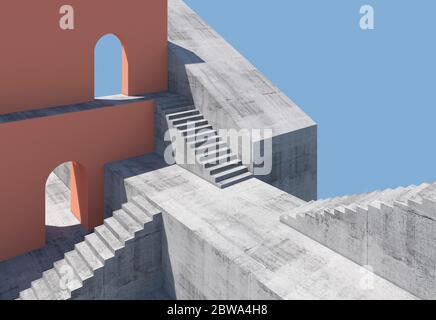 Resumen mínimo fondo arquitectónico con escaleras de hormigón y paredes rojas con arcos vacíos, ilustración de representación en 3d