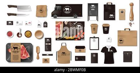 Variedad de comida en la carnicería. Restaurante Marca identidad de la maqueta. Productos de embalaje de Marca carne, carne, uniforme, menú, furgoneta de entrega, cuchillo
