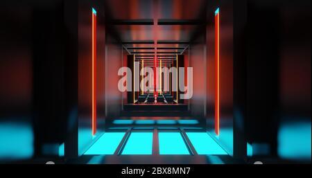 gráfico 3d de estilo futurista de alta tecnología corredor de metal con luz azul, roja y amarilla.