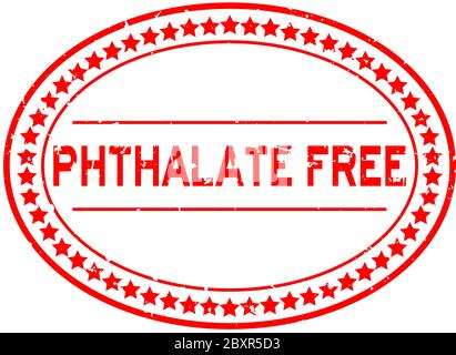 Grunge ftalato rojo libre palabra sello de goma oval sello sobre fondo blanco