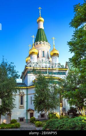 La iglesia rusa de San Nicolás en el centro de la ciudad de Sofía, capital de Bulgaria