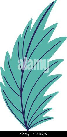 hoja de palma follaje naturaleza diseño aislado icono ilustración vectorial Foto de stock