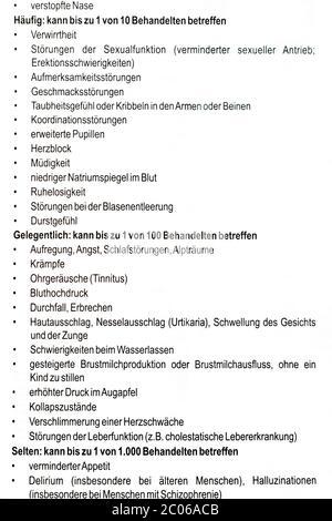 Efectos secundarios comunes en la hoja de información alemana del paciente: Packungsbeilage nebenwirkungen.