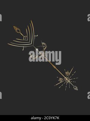 Diseño de tatuaje geométrico, flecha de alquimia mística dorada