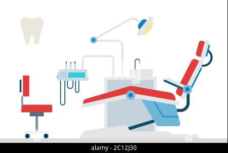 Herramientas dentales ilustración vectorial en diseño plano. Consultorio de dentista con silla dental.