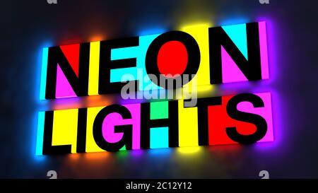 ilustración 3d de las letras coloridas y brillantes de las palabras luces de neón