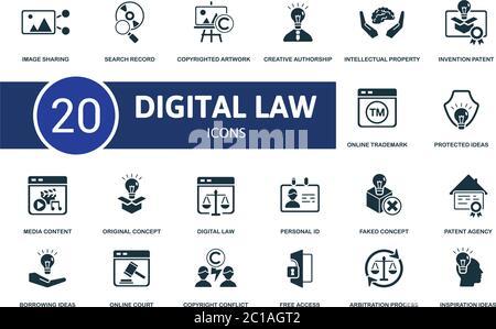 Conjunto de iconos de leyes digitales. La colección contiene ideas de inspiración, agencia de patentes, concepto falso, contenido de los medios y sobre iconos. Conjunto de elementos de ley digital.