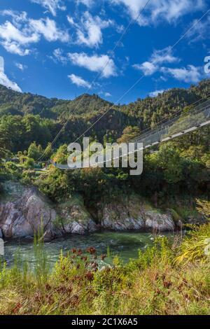 Puente colgante más largo de Nueva Zelanda durante el Buller Gorge