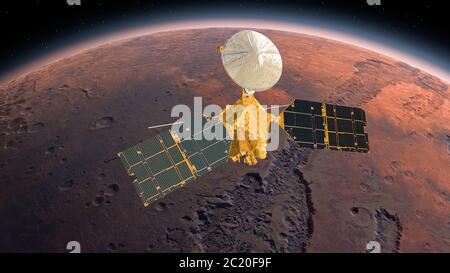 Orbitador de reconocimiento de Marte, MRO orbitando Marte. Marte planeta girando en el espacio exterior.viajando al planeta rojo Marte en el espacio. Elementos de este vi