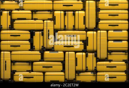 Muchas maletas amarillas idénticas en ruedas apiladas una encima de la otra. Las bolsas de viaje están en un montón. Ilustración de representación 3D