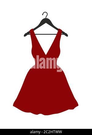 Ilustración vectorial de pequeño vestido rojo colgando en la percha negro sobre blanco