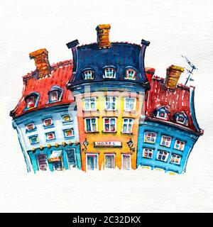 Dibujo de acuarela de coloridas fachadas de casas antiguas en Nyhavn puerto en el casco antiguo de la ciudad de Copenhague, capital de Dinamarca.