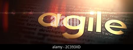 Metodología de desarrollo ágil - Macro Fotografía del lema de oro. Golden Word Viernes Negro grabado sobre papel oscuro. Gran Concepto de Negocios con Foc selectiva