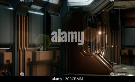 Representación en 3D de un corredor de naves espaciales de ciencia ficción realista