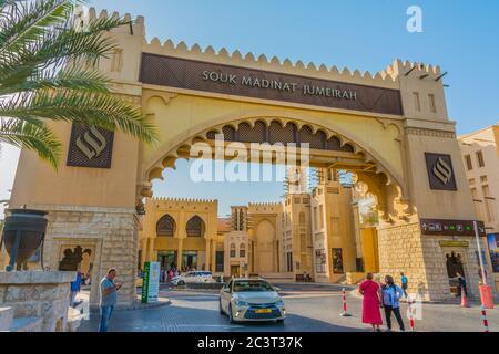 Dubai, Emiratos Árabes Unidos, 22 de enero de 2020: Souk Madinat Jumeirah