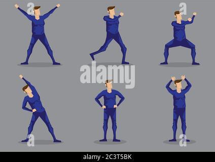 Conjunto de seis ilustraciones vectoriales de hombre de dibujos animados en azul una pieza de piel apretado Activewear aislado sobre fondo gris.