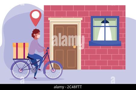 entrega segura en casa durante coronavirus covid-19, mensajero hombre de montar en bicicleta con caja en casa ilustración vectorial Foto de stock
