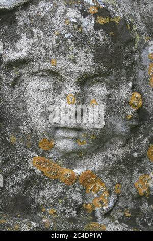 Detalle de la cara de los niños cubierta en Lichen