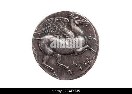 Plata 5 shekel Carthaginian moneda réplica con retrato de Tanit la diosa del cielo y el caballo alado Pegasus en el reverso de la primera Guerra Púnica