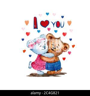 Ilustración de osos lindos. Acuarela. Amor. Corazón. Ilustración para el día de San Valentín.
