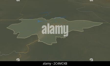 Ampliar en Mopti (región de Malí) esbozado. Perspectiva oblicua. Mapa topográfico de relieve con aguas superficiales. Renderizado en 3D Foto de stock