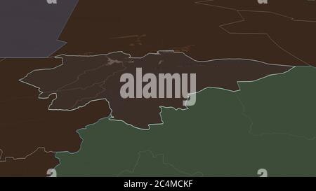 Ampliar en Mopti (región de Malí) esbozado. Perspectiva oblicua. Mapa coloreado y despareado de la división administrativa con aguas superficiales. Renderi 3D Foto de stock