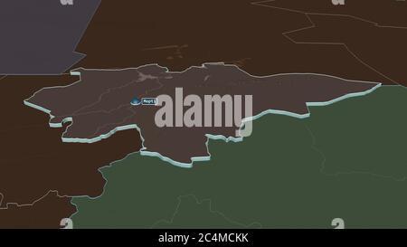 Ampliar en Mopti (región de Malí) extruido. Perspectiva oblicua. Mapa coloreado y despareado de la división administrativa con aguas superficiales. Renderi 3D Foto de stock